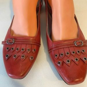 Clarks Indigo Red Leather Flats Cut Out Loafer